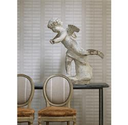 Plantation Distressed Louvered Window Wallpaper - Ecru