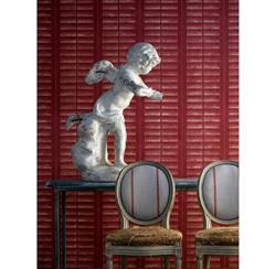 Plantation Distressed Louvered Window Wallpaper - Red