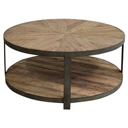 Cayden Rustic Lodge Brown Oak Iron Base Round Coffee Table