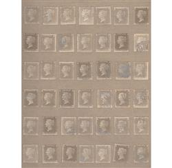 Vintage British Penny Stamps Wallpaper - Buff - 2 Rolls