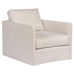 Vanguard Wynne Modern Classic Beige Upholstered Swivel Arm Chair