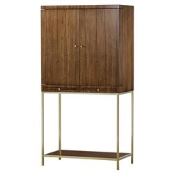 Maison 55 Copeland Mid Century Wood Satin Brass Bar Cabinet with Light