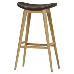 Thomas Bina Smith Modern Classic Leather Natural Oak Bar Stool