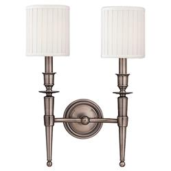 Hudson Valley Abington French Country 2 White Shades Antique Nickel Sconce