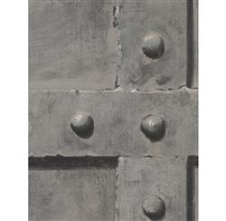Isambard Industrial Iron Panel Wallpaper - Steel