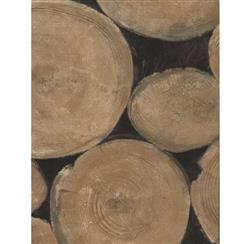 Rustic Lodge Wooden Log Ends Wallpaper - Beech