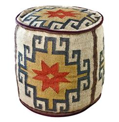 Mount Fray Cream Colored Round Rustic Ottoman
