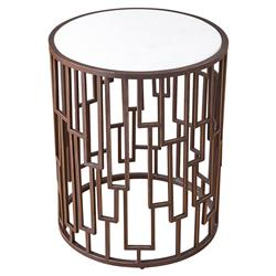 Kaiya Hollywood Regency White Marble Top Bronze Metal Base Side End Table | Kathy Kuo Home