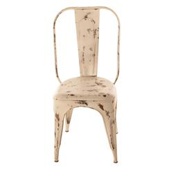 French Iron Rustic Distressed White Cafe Chair