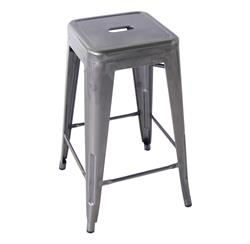 Bouchon French Industrial Steel Backless Cafe Counter Stool - Set of 4