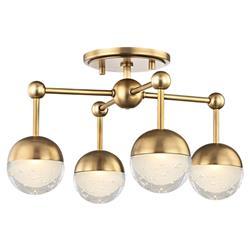 Hudson Valley Boca Hollywood Regency 4 LED Light Aged Brass Flush Mount