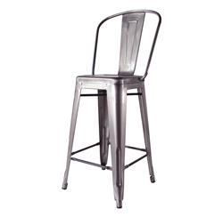 Bouchon French Industrial Steel With Back Cafe Counter Stool - Set of 4
