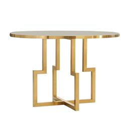 Celine Modern Classic Geometric Satin Brass Round White Side End Table | Kathy Kuo Home