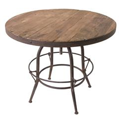 Elemental Reclaimed Wood Industrial Adjustable Dining Bar Table
