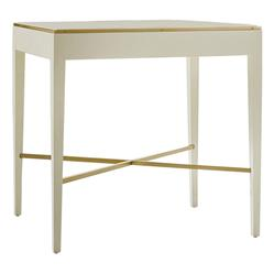 Leon Modern Classic Brass Accented White Side End Table | Kathy Kuo Home