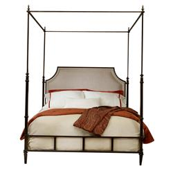 Mildred French Country Linen Upholstered Bronze Metal Bed - Queen