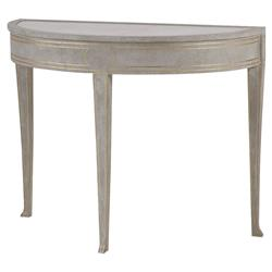 Rene Modern Classic Gold Accented Demilume Marble Top Antique Grey Console Table