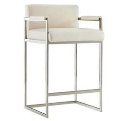 Xenia Modern Classic White  Leather Upholstered Silver Bar Stool