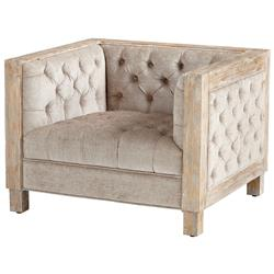 Augusto Tufted Masculine Deep Seat White Wash Arm Chair