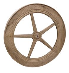 "Rustic Lodge Reclaimed Elm Wood 40"" Large Wheel Wall Decor"