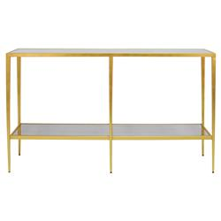 Thomas Modern Classic Antique Mirror Gold Leaf Metal Console Table | Kathy Kuo Home