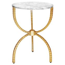 Joshua Modern Classic White Marble Top Gold Leaf Hourglass Metal Side End Table | Kathy Kuo Home