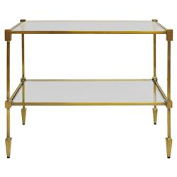 Theo Hollywood Regency Glass Antique Brass Rectangular Side End Table | Kathy Kuo Home
