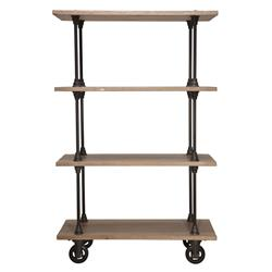 Allenby Industrial Weathered Oak 4 Shelf Rolling Bookcase - S | D8-HGDA167