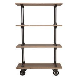 Allenby Industrial Weathered Oak 4 Shelf Rolling Bookcase - S