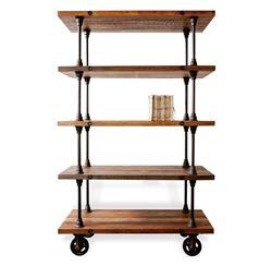 Allenby Industrial Reclaimed Wood 5 Shelf Rolling Bookcase - S