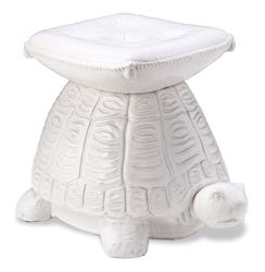 White Coastal Beach Style Turtle Garden Stool | 175031