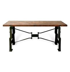 Oliver 'A Frame' Industrial Reclaimed Wood Cast Iron Long Desk | D8-HGDA113