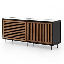 Daniel Modern Classic White Marble Top Brown Slatted Wood Sideboard Buffet
