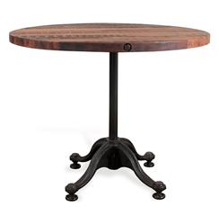 Pedro Reclaimed Wood Industrial Round Bistro Cafe Dining Table