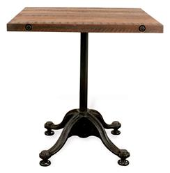 Pedro Reclaimed Wood Industrial Square Bistro Cafe Dining Table | Kathy Kuo Home