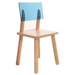 Nico & Yeye Leo Modern AC/BC Acrylic Back Solid Maple Kids Chair - Blue