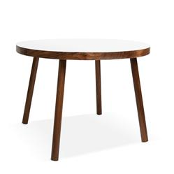Nico & Yeye Poco Modern Solid Walnut Round Kids Play Table - Small, White