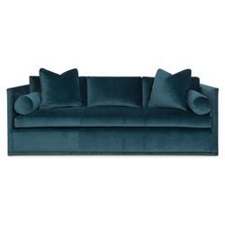 Highland House Etienne Modern Classic Blue Velvet Nailhead Trim Sofa