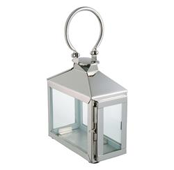 Zarina Modern Polished Silver Nickel Candle Lantern | DKL-890013