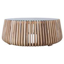 Betty Coastal Beach Glass Top Slatted Teak Wood Round Round Coffee Table - Small