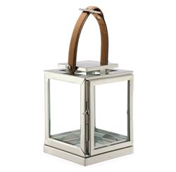 Marcus Small Modern Floor Candle Lantern with Leather Handle | DKL-890058