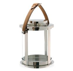 Saratoga Modern Round Candle Lantern with Leather Handle