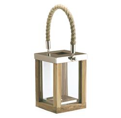 Beach Style Teak Stainless Steel Square Outdoor Candle Lantern