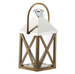 Metal Wood Grand Glass Lantern with Wood Handle | DKL-890076