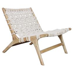 Cindy Coastal Beach White Woven Rope Teak Wood Occasional Chair