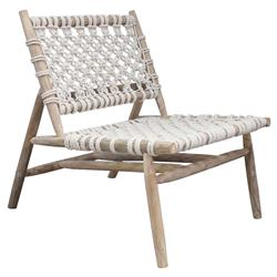 Gabriela Coastal Beach White Woven Rope Teak Branch Armless Chair