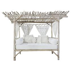 Teresa Coastal Beach White Bleached Teak Wood Branch Outdoor Daybed