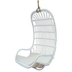Anabelle Coastal Beach White Woven Aluminum Outdoor Hanging Lounge Chair