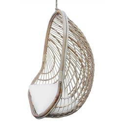 Bethany Coastal Beach Brown Rattan Hanging Outdoor Egg Chair