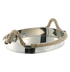 Nautical Rope Polished Silver Modern Serving Tray